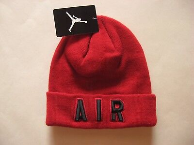 d4e52f46b97daa NEW Nike AIR Jordan Beanie Youth Winter Knit Hat Red Black Jumpman  9A1709-R78