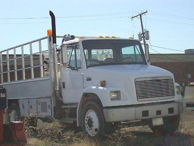Freightliner FL70 Aluminum Flat Bed with Air Compressor, Crane and Lift Gate