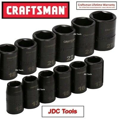 "Craftsman 12 Pc Laser Impact Socket Accessory Set 1/2"" Drive  Metric"