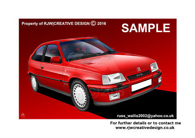 Vauxhall Astra GTE MK2 A3 Poster Print