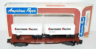 American Flyer 6-48501 SP flatcar w/ 2 piggyback trailers Southern Pacific HARR5