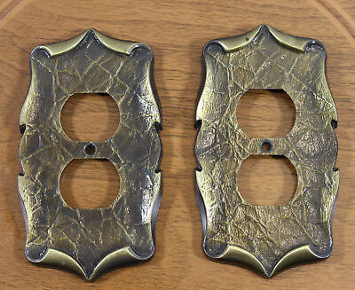 2 Vintage Amerock Antique English Brass Outlet Cover Plates