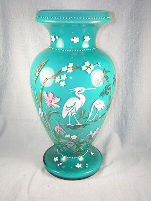 Very Large Victorian Cased Glass Vase with Enamel Storks & Flowers