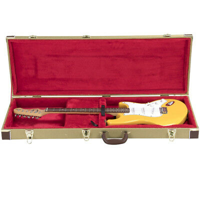 Tweed Rectangle Shaped Deluxe Hard Case for Electric Guitar,Gold