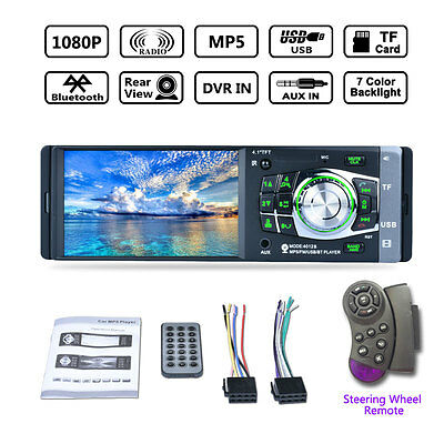 HD 4.1'' Bluetooth Car Radio Stereo Aux MP3 MP4 MP5 Player 1 Din FM Support New