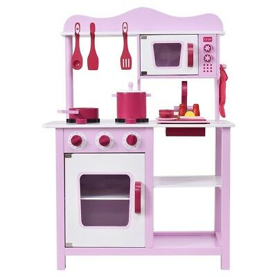 3ebc24382459 Kid Girl Pink Set Wooden Kitchen Cooking Pretend Play Playset Toddler Funny  Toys