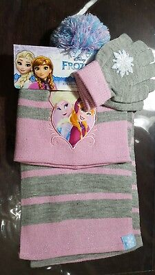 Frozen 3pc One size Hat Glove Scarf Set Girls Winter Wardrobe Accessory Pink
