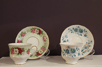 Set Of 2 Queen Anne Fine Bone China Floral Teacups And Saucers