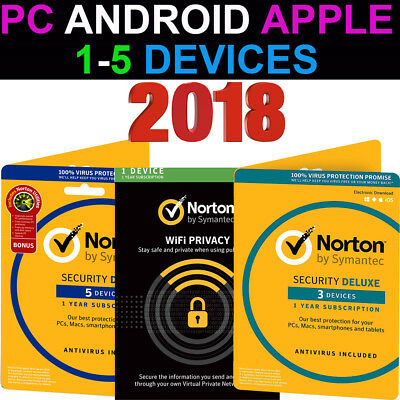 Norton Internet Security Deluxe Premium AntiVirus WiFi 1-5 Device PC Mac Android