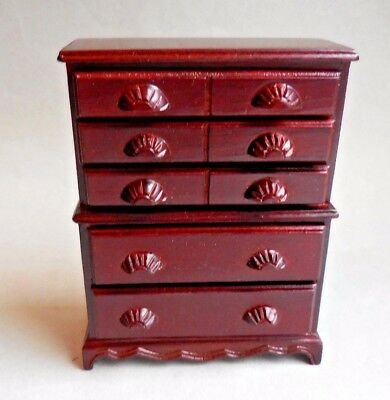 Dollhouse Miniature ~ Mahogany Chest On Chest~ Vintage Bespaq