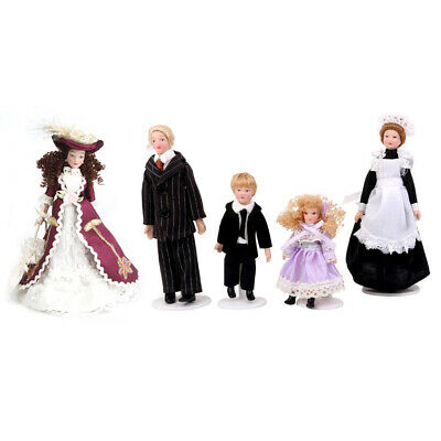 1:12 Dolls House Miniature Figures Porcelain/Wood Doll Family People with Stand