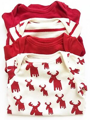 Gap Baby Boy Holiday Christmas Long Sleeves Bodysuit Red Newborn Size Up to7 Lbs