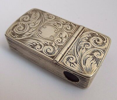 Superb Rare Early English Antique 1853 Solid Silver Vesta Case & Cheroot Cutter