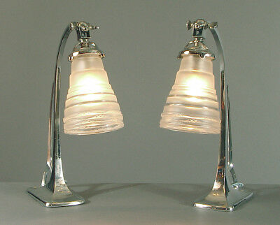A Smashing Pair of French Art Deco Lamps for Bedside, Desk, and/or Wall Sconces