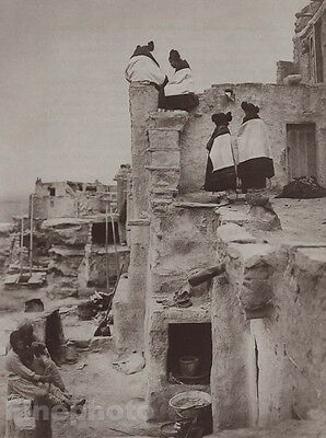 c.1900/72 Photo Gravure NATIVE AMERICAN INDIAN Hopi Women House Art CURTIS 11x14
