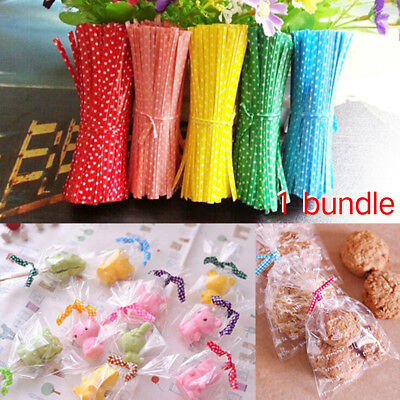 100PCS Colorful Dots Twist Ties Wire For Cake Pops Gift Candy Sealing Bags Pack