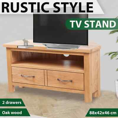 vidaXL Solid Oak Wood TV Cabinet 2 Drawers with Handles Brown HiFi Stand Unit
