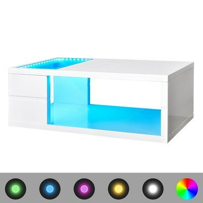 High Gloss White Finish LED Coffee Table/Lighted Table Living Room Decor 41.5 cm