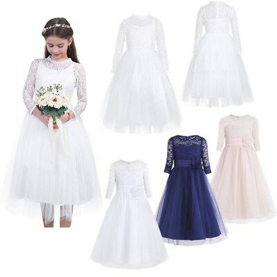 Flower Girl Dress Lace Bridesmaid Wedding Baby Princess Party Dress Full Length
