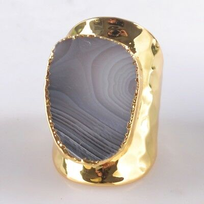 Defective Scratched Size 6.5 Botswana Agate Ring Gold Plated B046492