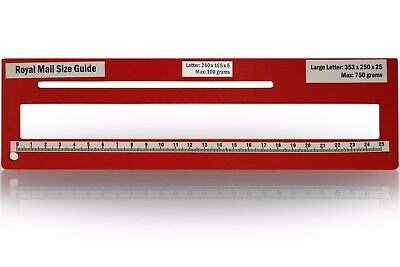 Royal Mail PPI Letter Size Guide Ruler Post Office Postal Price Postage in Red.