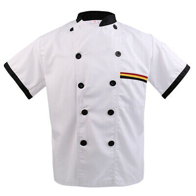 Chef Jacket Short Sleeve Unisex Chefs Coat Black White Chefwear with Pen Pockets