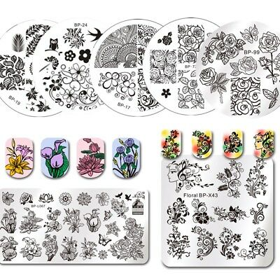 Born Pretty Metal Nail Art Stamping Plates Plant Flowers Design Image Templates