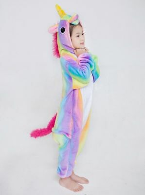 UK Kid Girls Rainbow Unicorn Kigurumi Cosplay Costume Onesie16 Pajamas Sleepwear