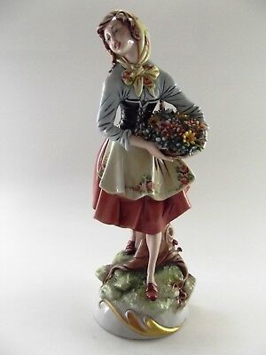 Most Stunning Capodimonte Figure Of A Lady With Basket Of Flowers Ref 1214/2