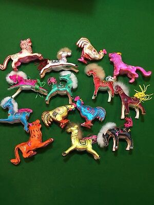 Hand Embroidered Satin Animals X 14 Asian Influence Approx Size 12 x 10 Cm