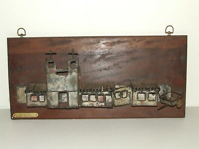 "Vintage Mid Century Modern Wall Art Sculpture ""The Mission"" by Dale Du Wayne"