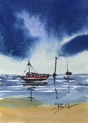 ACEO Original Art Watercolour Painting by Bill Lupton  - Boats on the Sea