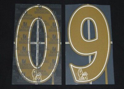Official Premier League 2007/12 Lextra Football Shirt Numbers 0-9 Gold