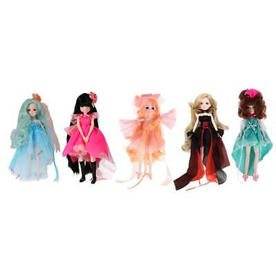 Set of 5pcs 30 Joints Dressed Vinyl Body Doll Flexible Ball Jointed Doll Toy
