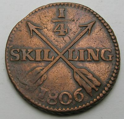 SWEDEN 1/4 Skilling 1806 - Copper - Gustaf IV. Adolf - 3533
