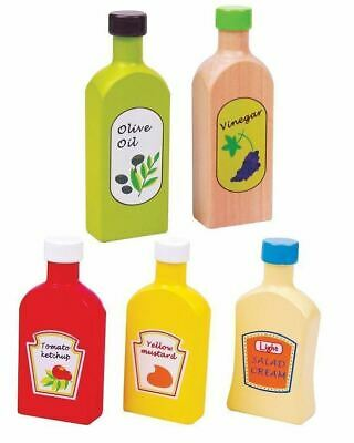 Lelin Wooden Wood Childrens Pretend Play Kitchen Food Oil & Sauces 5 Pc Pieces