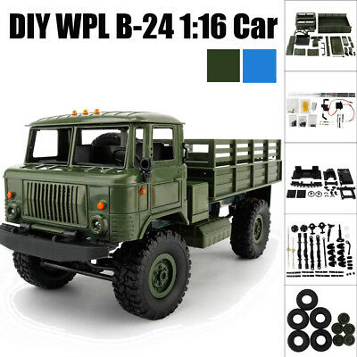 WPL B-24 1:16 4WD RC DIY Assemble Military Truck 4-Channels Control Car Toy Gift