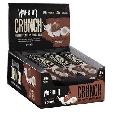 Warrior Crunch High Protein Bars Low Carb Low Sugar x 12 Per Box - Choco Coconut