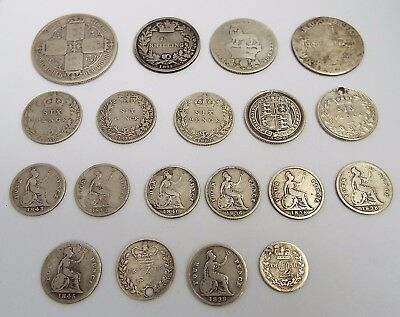 19 Early English Antique 18/19Th Century Solid Silver Coins Including Maundy