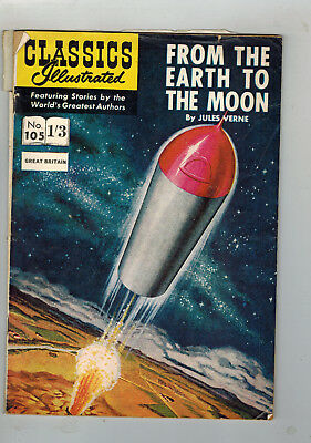 CLASSICS ILLUSTRATED COMIC No. 105 From Earth to the Moon 1/3 HRN 124 G