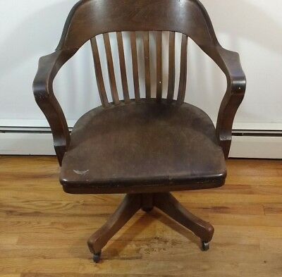 Vintage Bankers Chair - Wooden - Library / Office / Desk / Lawyer- Swivel - Arms