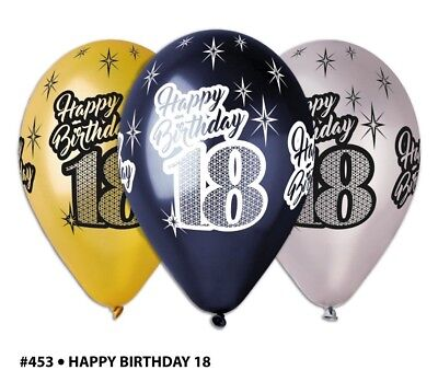 Happy 18th Metallic Birthday Balloons 10pc Pack Of Gold Black Silver Party
