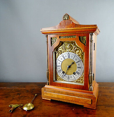 Antique Oak Mantel Clock by Lenzkirch Germany c1907 Gong Strike 8 Day with Key