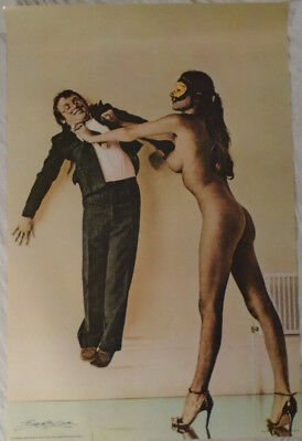 Bob Carlos Clarke 1980 Poster Nude Girl Long Legs High Heels Large Breasts Babe