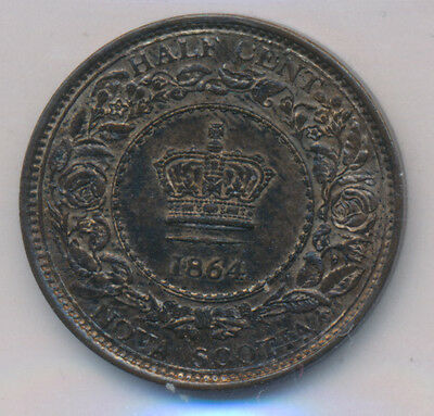 Canada Nova Scotia Half Cent 1864 - ICCS MS-62 R&B  Retail $150