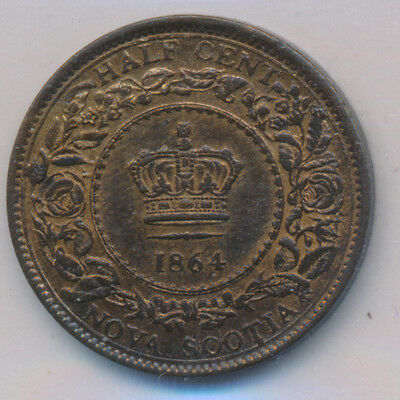 Canada Nova Scotia Half Cent 1864 - ICCS MS-60 R&B Retail $100