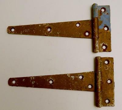 Pair of Old Vintage Painted Steel Strap Tee Hinges for Barn Door or Gate