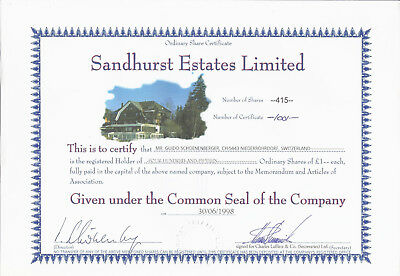 Sandhurst Estates Ltd 1998. Ordinary Share Certificate 415 Shares Stammaktie