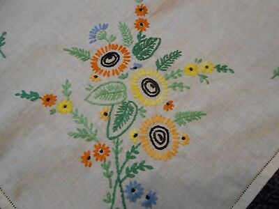 Beautiful Vintage Linen Hand Embroidered Tablecloth