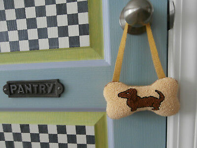 PUNCH NEEDLE primitive with WOOL DACHSHUND DOG BONE SHAPED CUPBOARD PILLOW